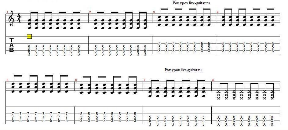Роковая аккордовая последовательность. live-guitar.ru